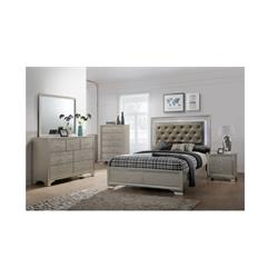 Champagne  w/Lights Headboard and Footboard B4300-QN-BED Image