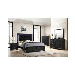 Queen Black Brm w/Lights Headboard and Footboard B4350-QN-BED Image